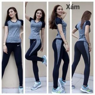 Set bộ tập gym-yoga dành cho nữ (Set quần dài áo ngắn tay)