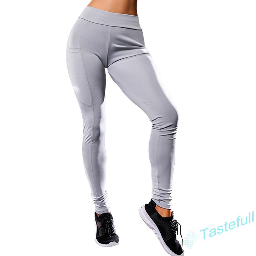 TA Women Fitness Leggings Running High Waist Sport Elastic Pockets Fashion Pants