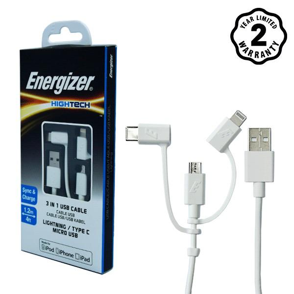 Cáp Energizer 3 trong 1 Lightning-Micro-Type C 1.2m (White) - C11UBX3CFWH4