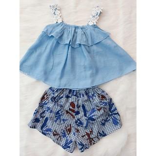 Set áo dây và quần ngắn hoa xinh xắn cho bé