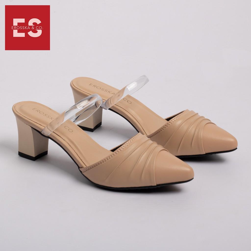 Dép cao gót Erosska thời trang mũi nhọn quai trong phối họa tiết đơn giản cao 5cm màu nude _ EH030