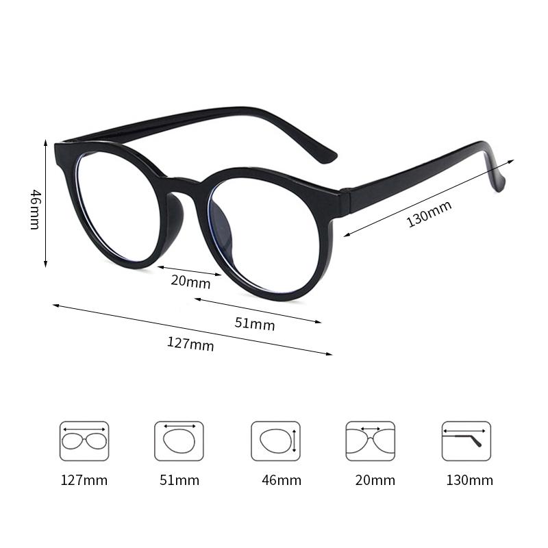 Children's Anti-blue Light Round Frame Flat Mirror Radiation Protection Goggles