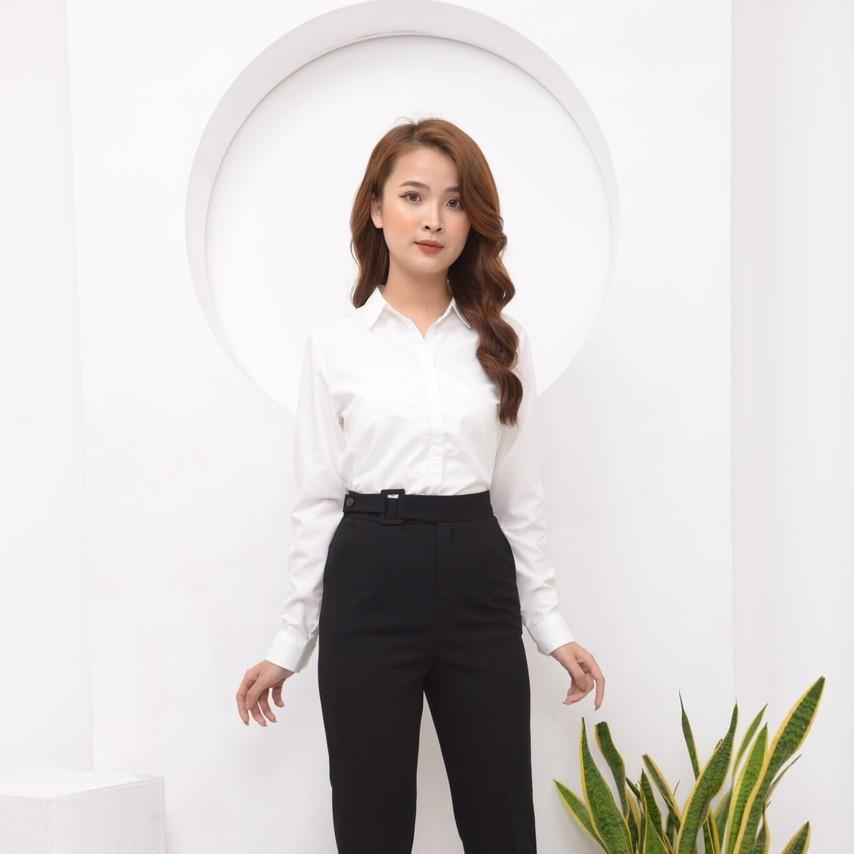 Mặc gì đẹp: Xinh tươi với Áo sơ mi trắng nữ tay ngắn công sở Homieyl cao cấp, áo sơ mi suông nữ basic đi học đi làm chất vải thô lụa đẹp