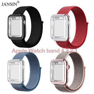 Dây đeo bằng nylon kèm ốp bảo vệ màn hình dành cho Iwatch 1/2/3/4/5/SE/6 38/42/40/44mm