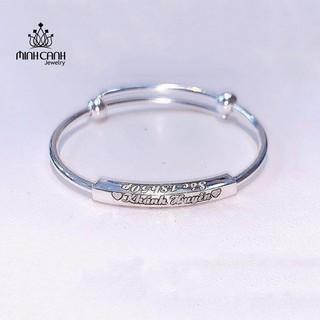 Lắc Bạc Khắc Tên 3 Mặt Cho Bé - Minh Canh Jewelry
