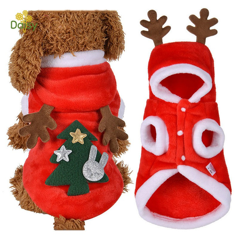 Pet Dog Red Christmas Cartoon Elk Hooded Coat Jacket Winter Dog Cat Coat