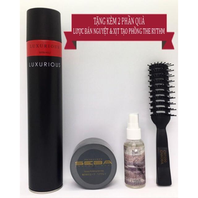 < TẶNG CHAI THE RYTHM 50ML + LƯỢC > Gôm xịt tóc Luxuirous + sáp vuốt tóc Seba