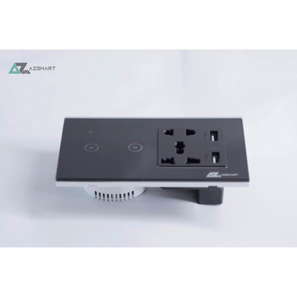 Công tắc cảm ứng kèm 2 ổ cắm có cổng USB sạc điện thoại Azsmart giá cạnh  tranh