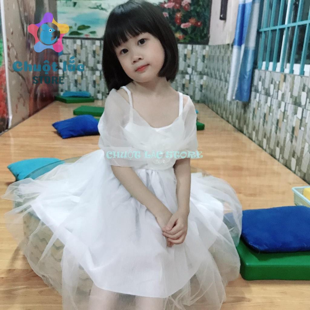 Đầm váy công chúa bé gái kiểu nơ trễ vai ren 2 lớp cho bé gái từ 10kg đến 22kg( màu hồng, trắng, kem)