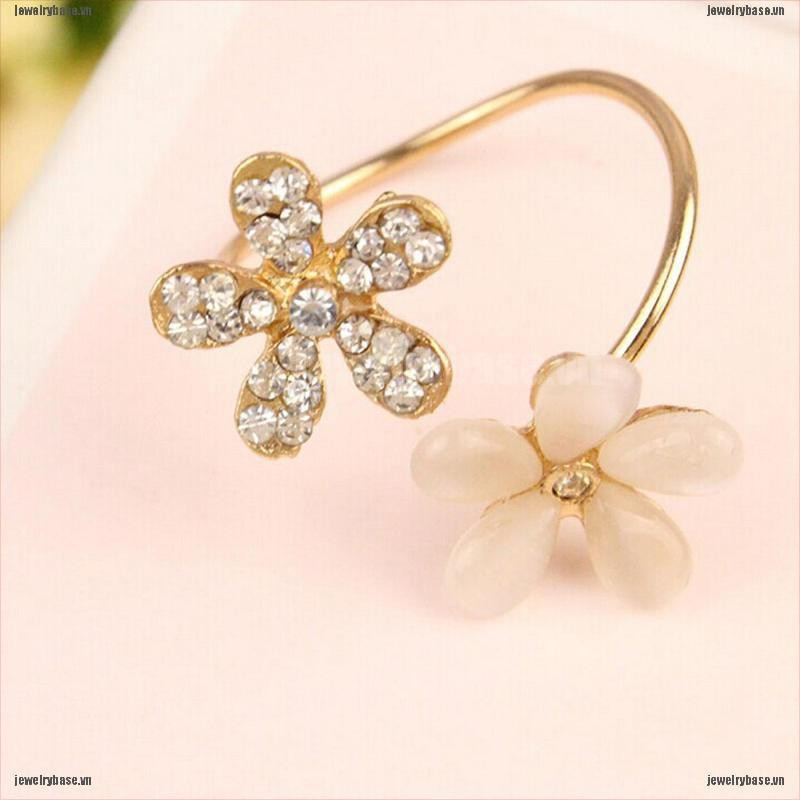 [Base] Women New Fashion Jewelry Ring Gold Filled Daisy Crystal Rhinestone Rings Gift [VN]