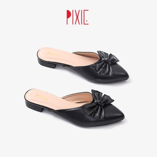 [FORM NHỎ]Dép Sục Bệt Mũi Nhọn Gắn Nơ Màu Đen Pixie X456