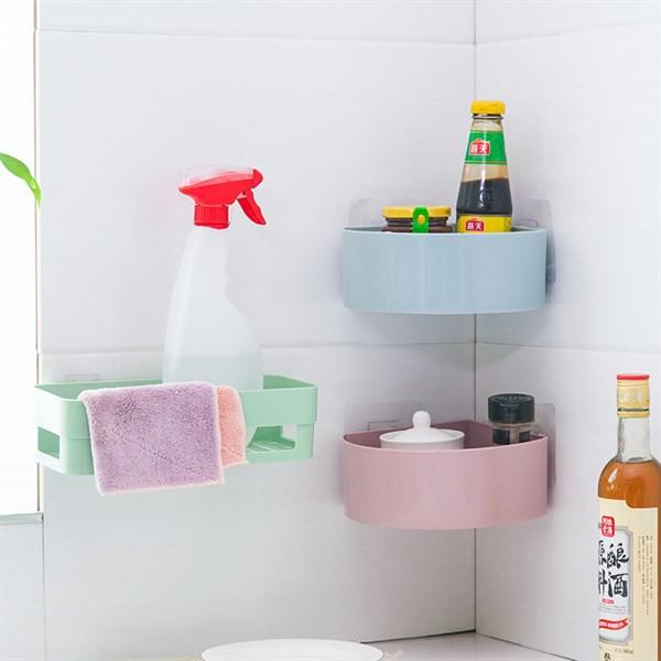 kệ dán tường bo tròn cho góc bếp hoặc nhà tắm tiện lợi
