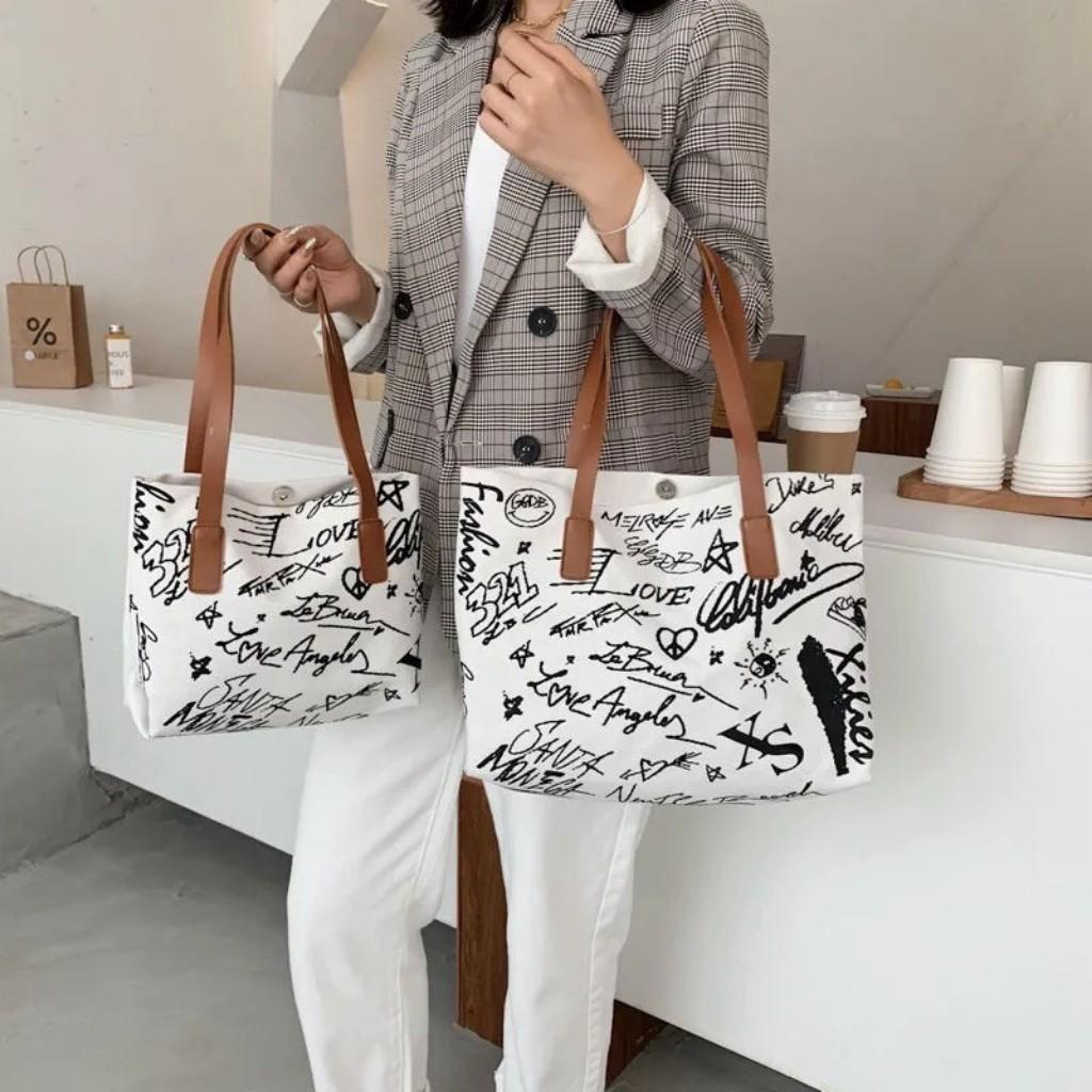 Túi Vải Nữ Họa Tiết HA71 Trẻ Trung Cầm Tay Sang Trọng Size Đại