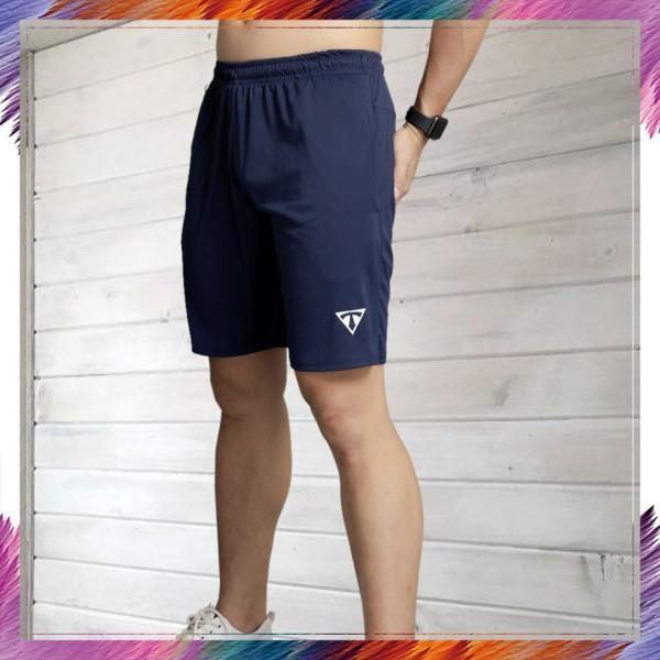 Quần Thể thao Nam BONNIE, quần short vải thun lạnh cao cấp tập gym dáng lửng, thoải mái (navi)