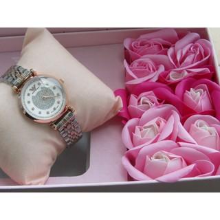 Qùa tặng sang trọng - bộ đôi đồng hồ nữ armani + hoa hồng sáp thumbnail