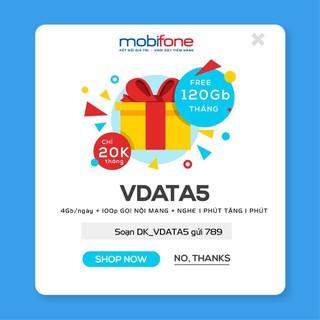 Sim Vdata5 Mobifone 120GB/tháng, giá gói chỉ 30k