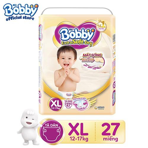 [Tặng kèm Gối Ôm Hoa Quả tùy size] Tã giấy cao cấp Bobby Extra Soft – Dry XS48/S40/M34/L30/XL27/XXL24