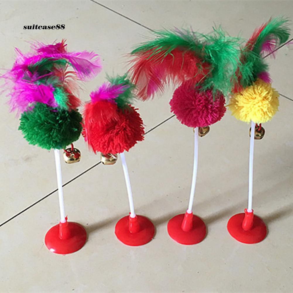 Stcs♥3Pcs Feather Plush Ball Rustle Pet Cat Play Interaction Toy with Suction Cup