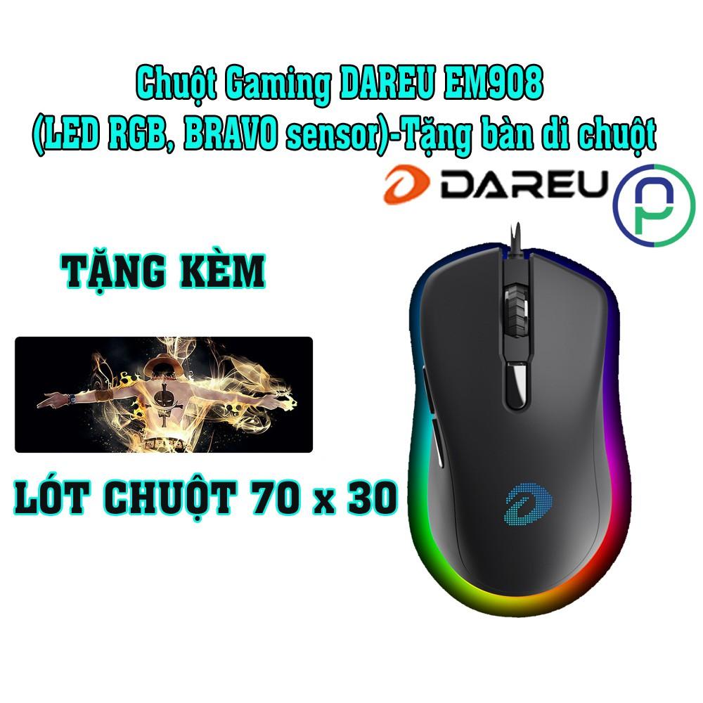 Chuột gaming dareu em908 led rgb bravo sensor tặng bàn di chuột bảo hành 24 tháng