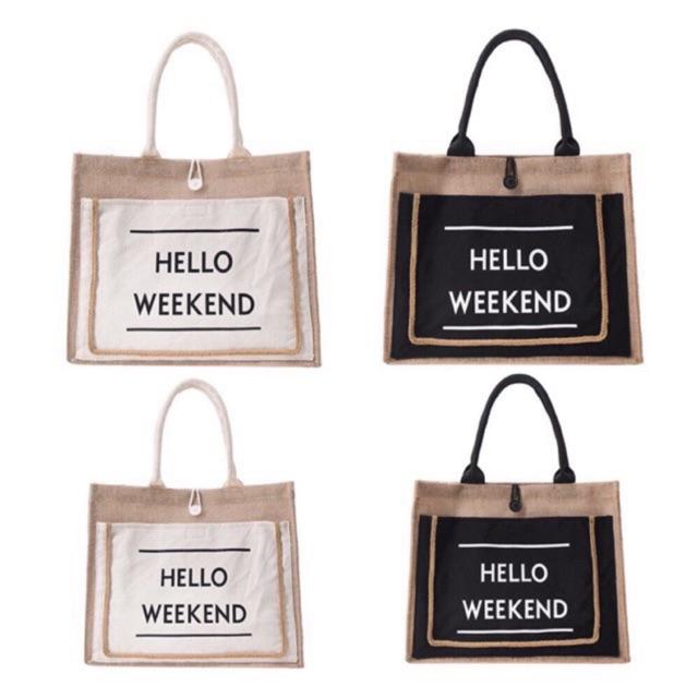 Túi Cói Hello Weekend HOT SUMMER( Có sãn) chất liệu cói THẬT(ko phải giả cói)