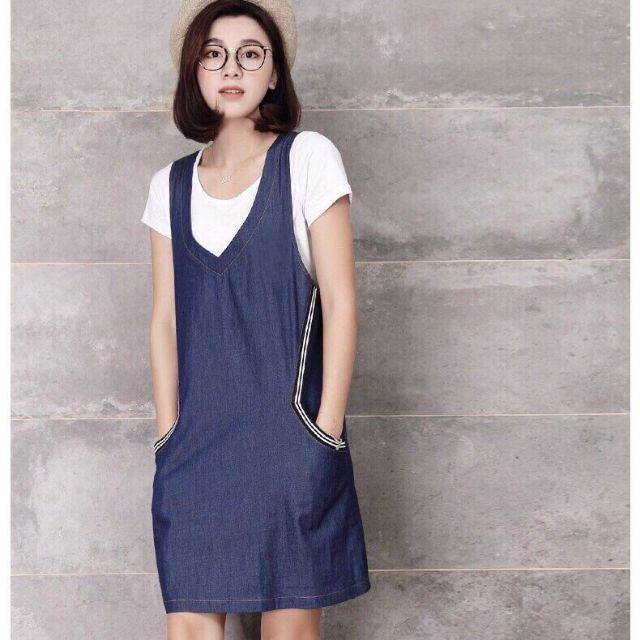 Đầm jean túi phối sọc