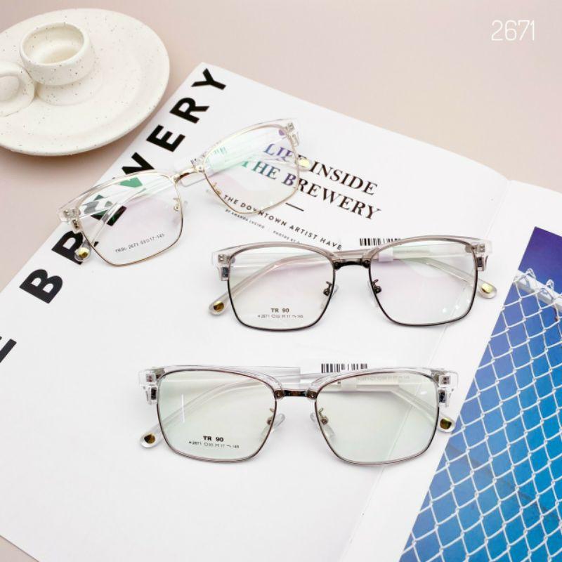 Gọng kính kim loại vuông thời trang nam nữ 2671 - Tiệm kính Candy