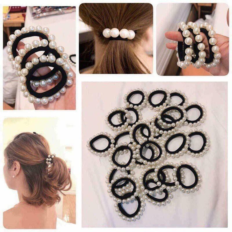 combo 20 dây buộc tóc ngọc trai nhựa
