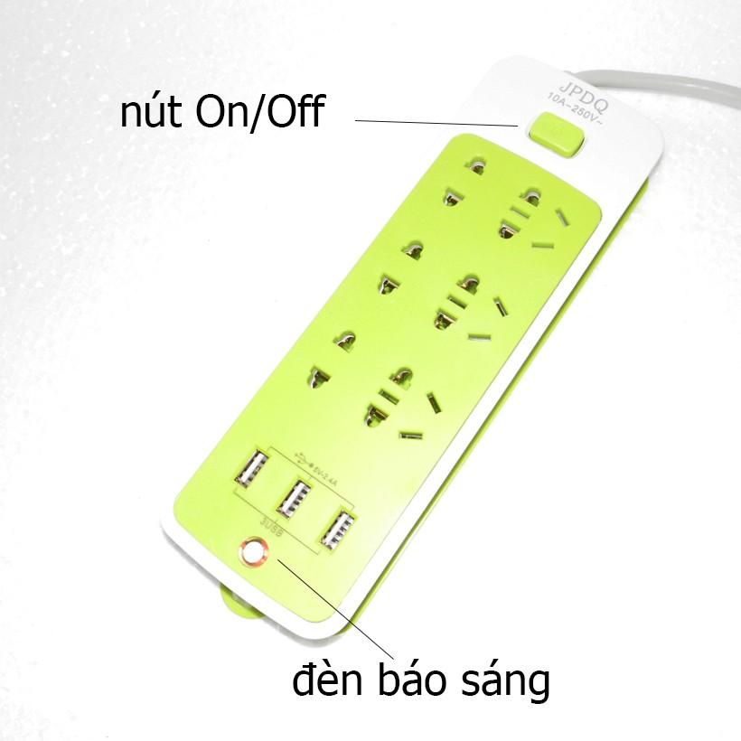 Ổ cắm điện thông minh JPDQ 4000W (6 phích căm, 3 USB, 1,5 mét)