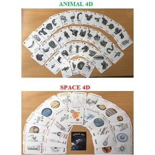 [Siêu Combo + Quà] Full Box 40 thẻ Animal 4D (Động Vật) + 26 Thẻ Space 4D tặng bộ dụng cụ học tập cho bé.