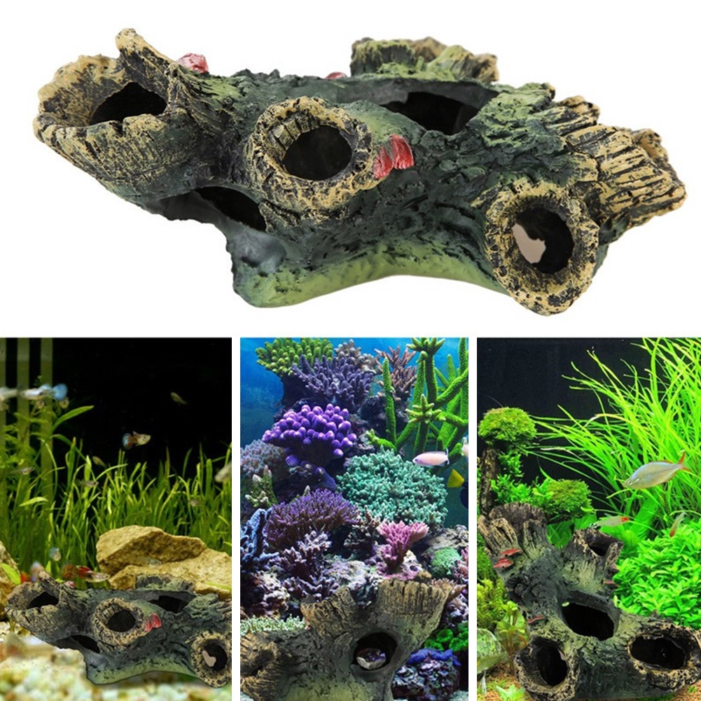 Mountain View Rockery Aquarium Rock Cave Tree Bridge Fish Tank Ornament Decoration