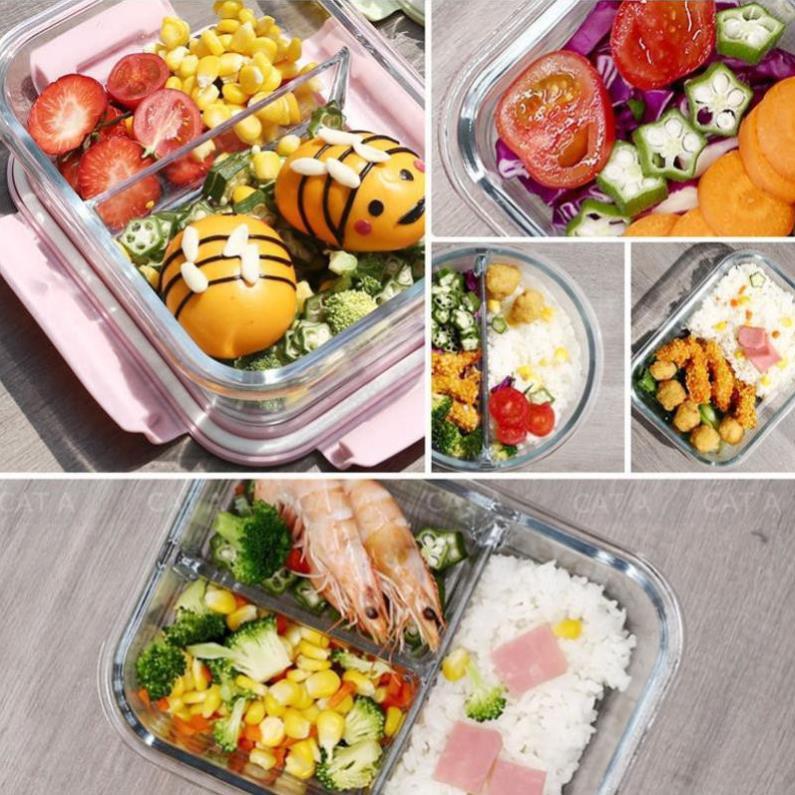 Hộp Cơm Thủy Tinh 3 Ngăn - Có thể dùng như hộp cơm văn phòng, tiện lợi nhỏ gọn, giữ cho thức ăn luôn tươi ngon