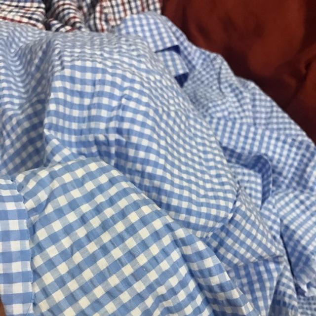 Vải thô caro xanh dương