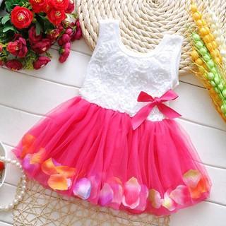 Đầm xòe cộc tay họa tiết hoa phối nơ xinh xắn cho bé gái