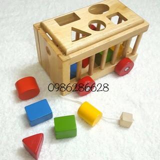 Xe cũi thả hình khối – Đồ chơi gỗ thông minh