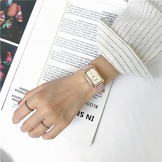 Đồng hồ nữ Barsh BSV01 dây da, mặt chữ nhật cực đẹp, phong cách Hàn Quốc