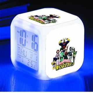 Đồng hồ báo thức để bàn in hình My hero academia Học viện anh hùng anime chibi LED đổi màu