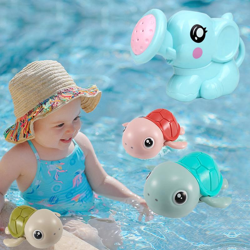 Little Turtle Elephant Toy Shower Cute Water Gliding Baby Bath Toys Clockwork Swimming Bathroom Spray Mainan Newborn For Kids Girl Budak Lelaki