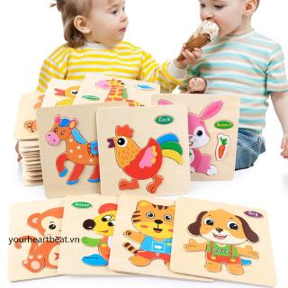 Early Childhood Educational Cartoon Three-dimensional Puzzle Educational Wooden Toys