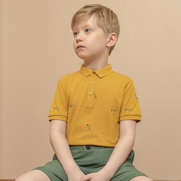 Áo polo cộc tay cho bé 137Kids Áo phông unisex cotton có cổ co giãn màu vàng dễ thương