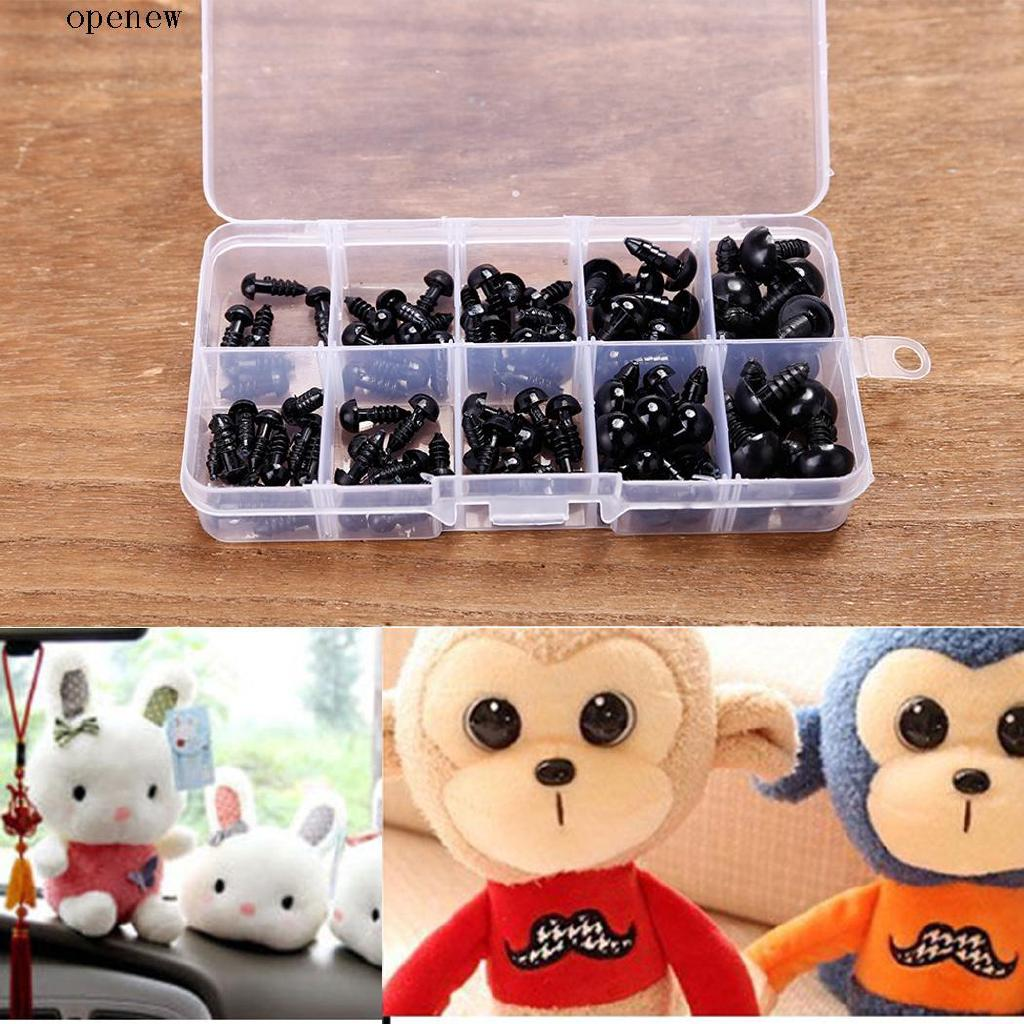 op New 100pcs 6-12mm Environmental Plastic Black Eyes For Doll Animal Crafts Teddy Bear With Box