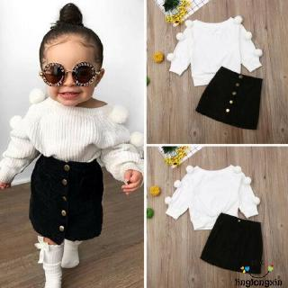 ☭X-Baby Girl Warm Outfits Sets Knit Long Sleeve Top+ A-Line Mini Skirts