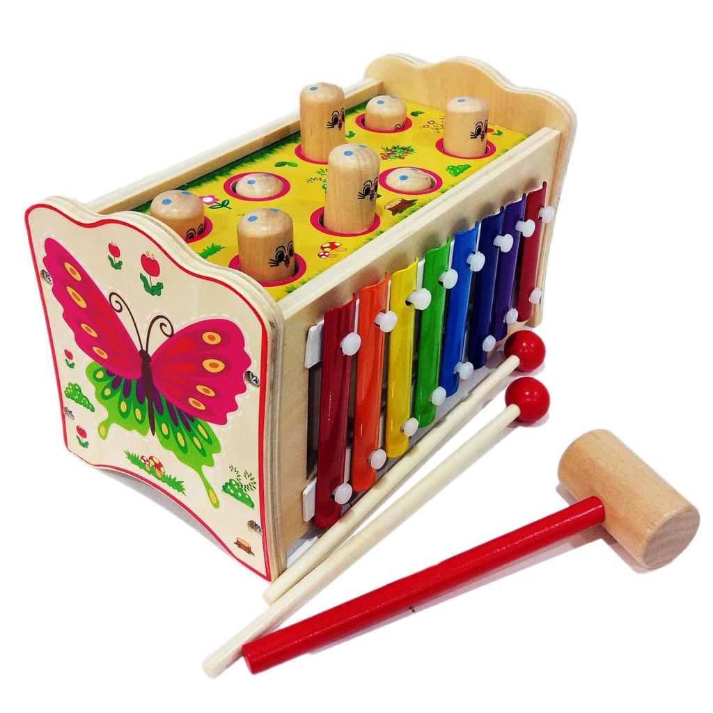 Đập chuột kết hợp đàn Xylophone. Đồ chơi thông minh có nhạc cho bé.