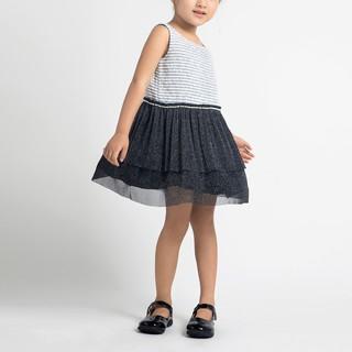Đầm váy xòe BAA BABY phối lưới màu trắng vân xanh cho bé gái - G-AD11C-003TR thumbnail