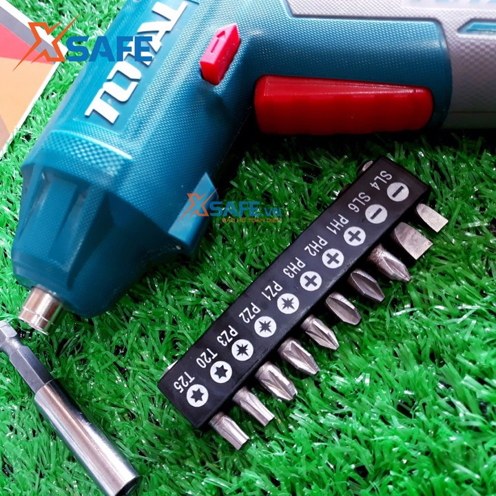 Máy siết vít dùng pin Lithium 4V TOTAL TSDLI0401 Tặng kèm cục sạc 2 giờ, 10 mũi siết vít 25mm, 1 mũi từ [máy bắn vít]
