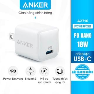Sạc ANKER PowerPort PD Nano 18W 1 cổng USB-C PD - A2716 thumbnail