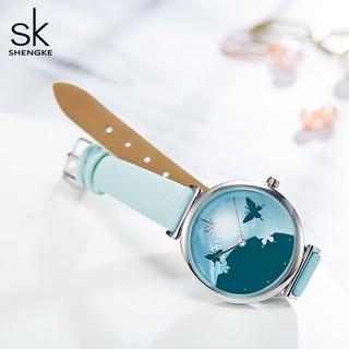 Đồng hồ đeo tay Shengke kết cấu thạch anh chống thấm nước dây đen màu xanh thời trang sang trọng cho nữ