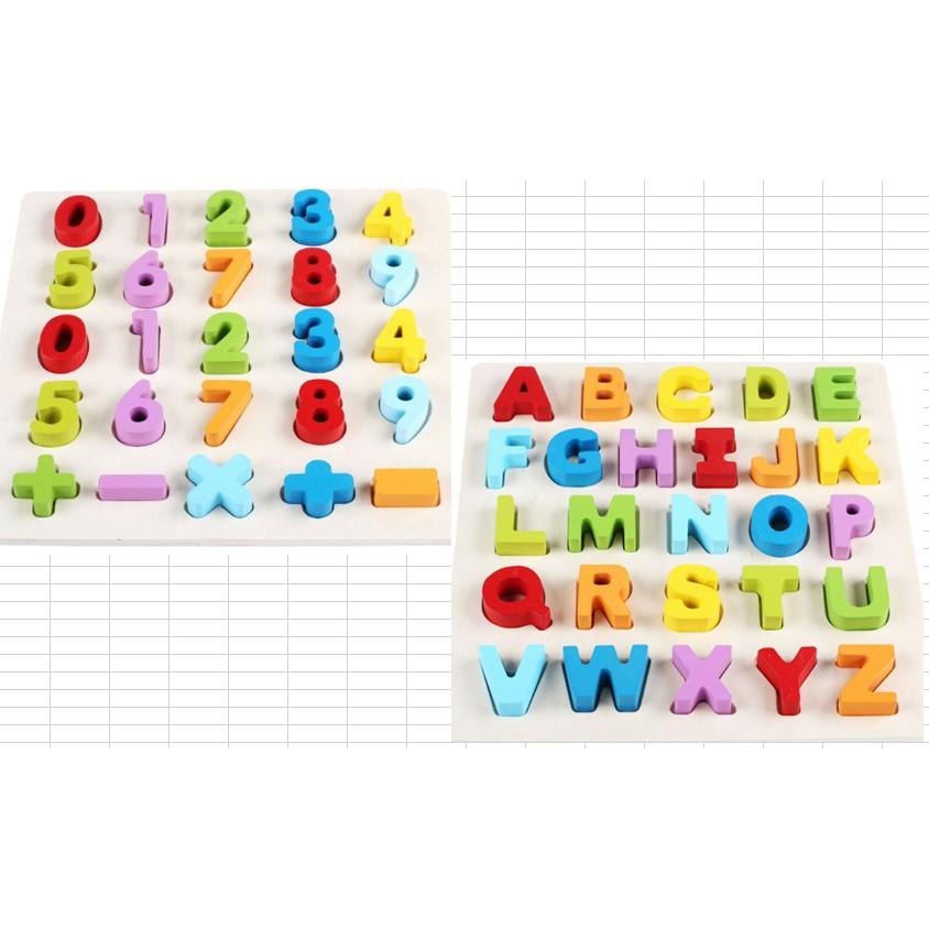 Đồ chơi gỗ Combo 2 bộ đồ chơi gỗ cho bé học chữ, số