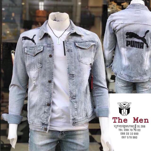 [FreeShip - ẢNH THẬT] Áo khoác jeans nam THÊU PUMA dài tay cổ bẻ siêu chất Hàn Quốc | Áo khoát jean nam thời trang - Áo khoác jeans