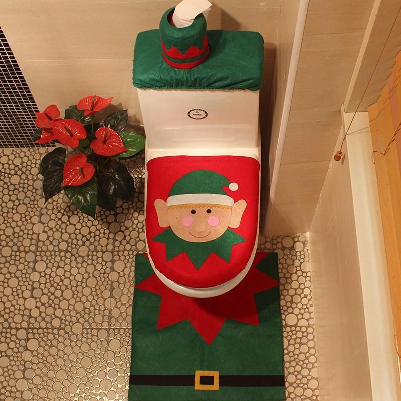 Set 3 thảm lót bồn cầu họa tiết theo phong cách Giáng Sinh