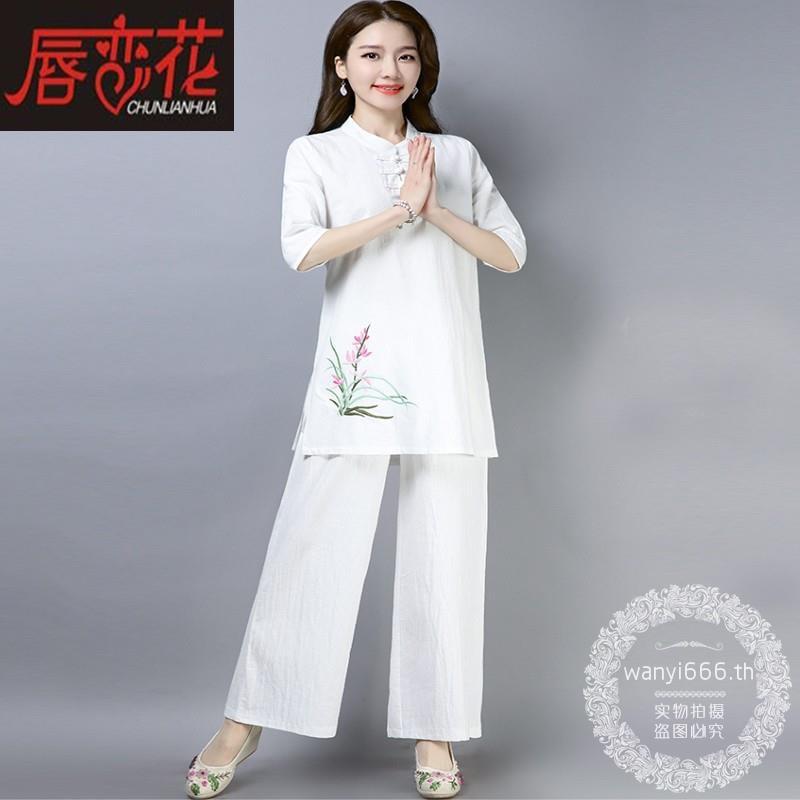 ถังจีนตั้งผ้าฝ้ายย้อนยุคและผ้าลินินบริการทำสมาธิชาชุดการทำสมาธิวางเสื้อผ้าเซนหญิงสูทแบบสองชิ้น